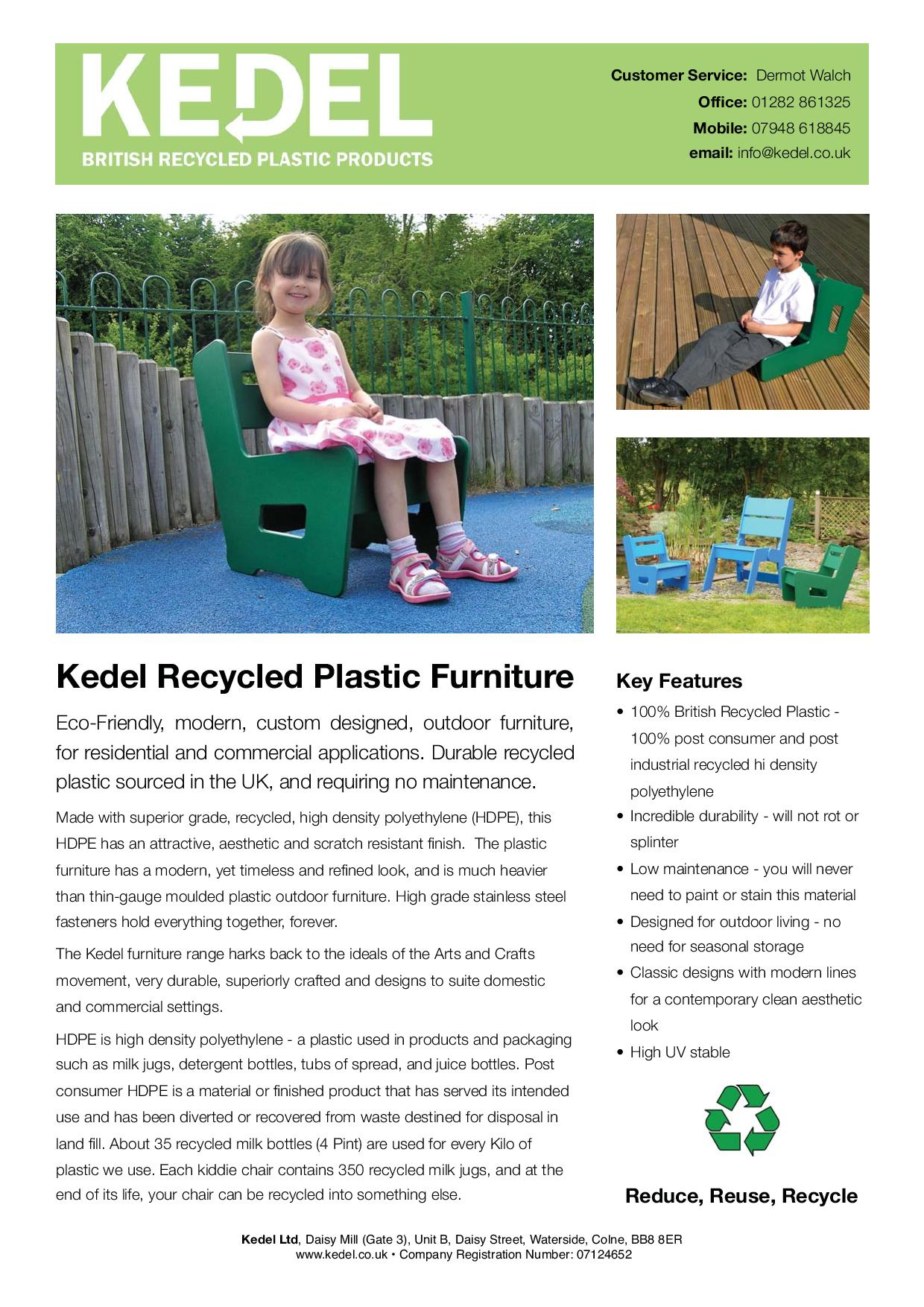 Recycled Plastic HDPE Chair - Key Features Leaflet
