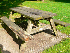 Rotten Wooden Picnic Table Bench