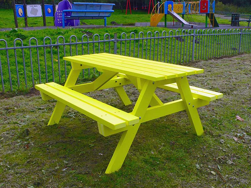 Recycled Plastic Wood Picnic Tables | Bright Colours | No Maintenance