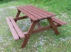 Colour: Mahogany,  Size: (L)1500 x (W)1300 x (H)770 x (SH)490mm,  Type: Traditional picnic table