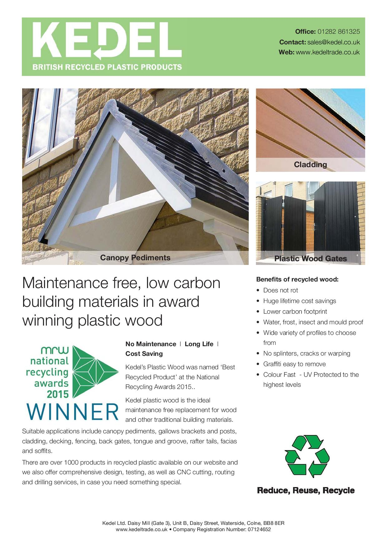 kEDEL Building Material Leaflet product range recycled plastic