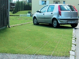 Car Parked on Seeded Drainage and Ground Reinforcement Grids