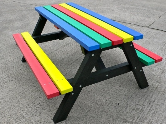 Multicoloured Recycled Plastic Picnic Table | Rainbow Range