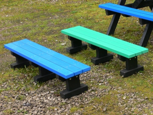 Junior 3 Seater Recycled Plastic Multicoloured Tees Bench - No back