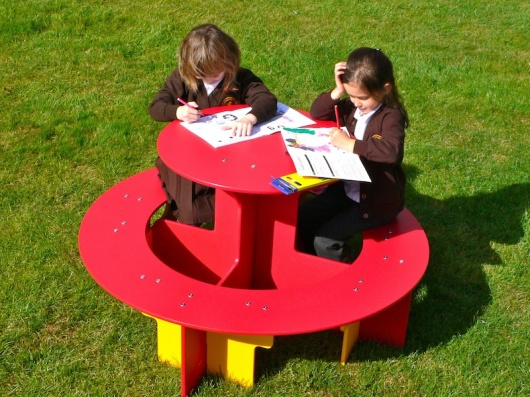 Children's Round Recycled Plastic Picnic Table - Rainbow Range