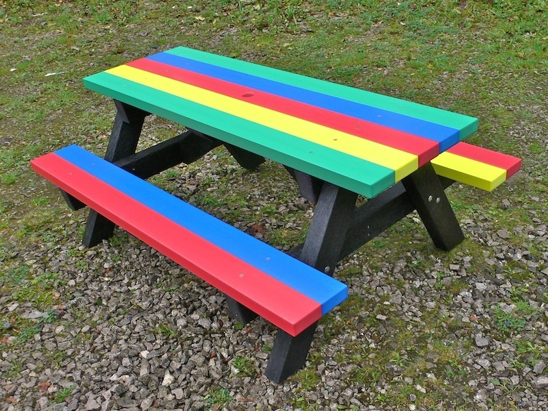 junior multicoloured recycled plastic picnic table | ribble range trade