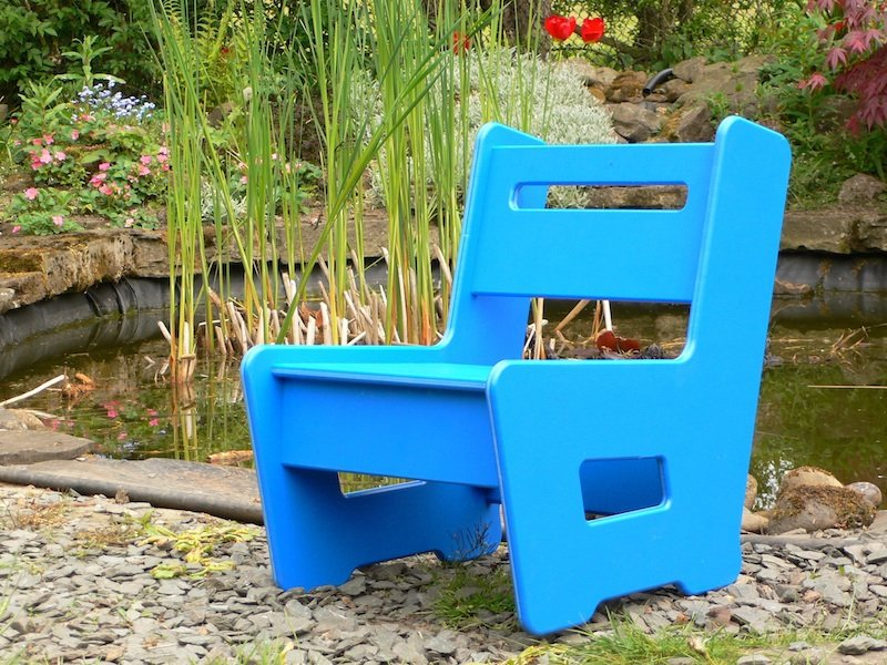 kids garden chair recycled plastic beipan trade 11114 | kiddie chair blue wb