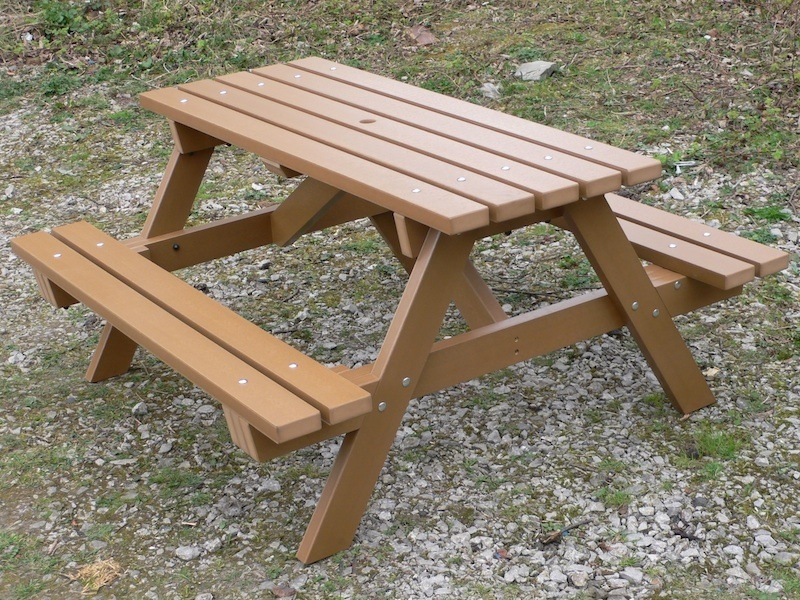 Pvc Wood Furniture ~ Recycled plastic picnic table garden traditional