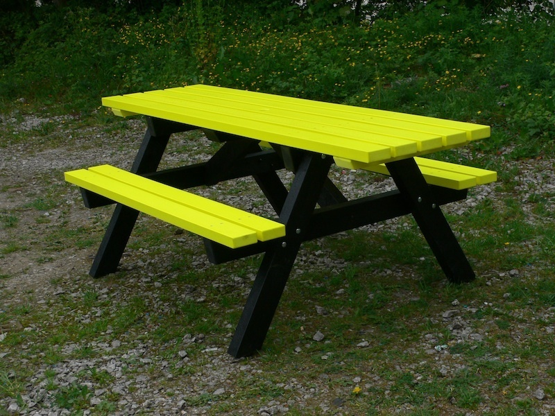 Ribble Rainbow Recycled Plastic Picnic Table Wheelchair Access Trade - Wheelchair picnic table
