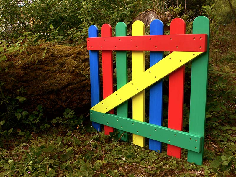 Multicoloured Plastic Wood Picket Gate | Recycled Plastic